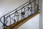 Ringhiera stile liberty in ferro forgiato e finitura a cera. Commissione privata, 2011